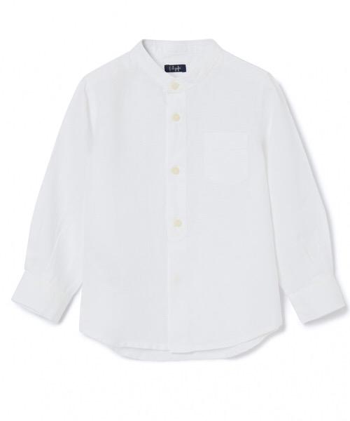 Camicia collo coreana in lino Il Gufo