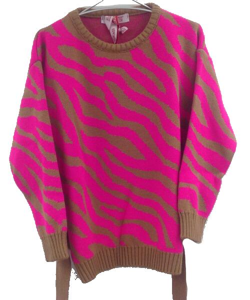 Pullover zebrato con cintura