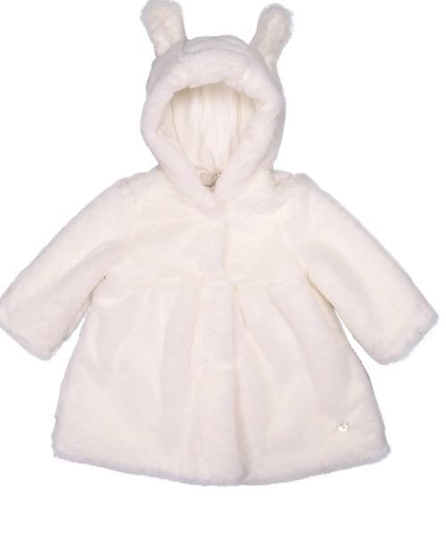 Lalalù Cappotto in pelliccia con cappuccio e chiusura clips