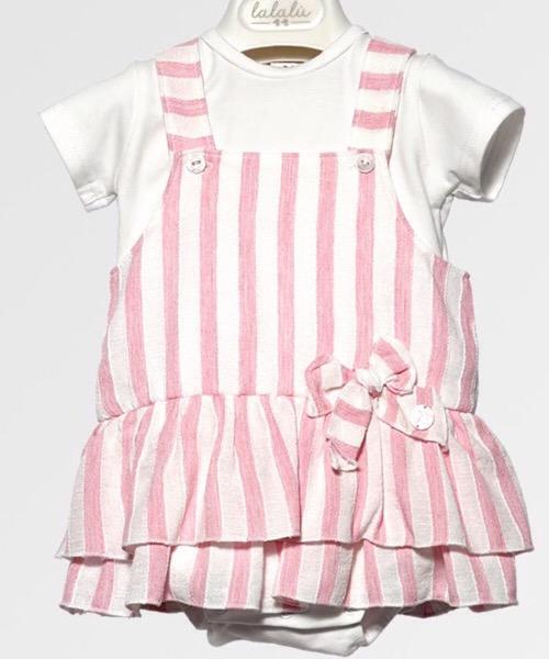 Salopette e t-shirt bambina Lalalù in lino
