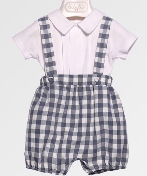 Salopette e t-shirt neonato LALALÙ quadri