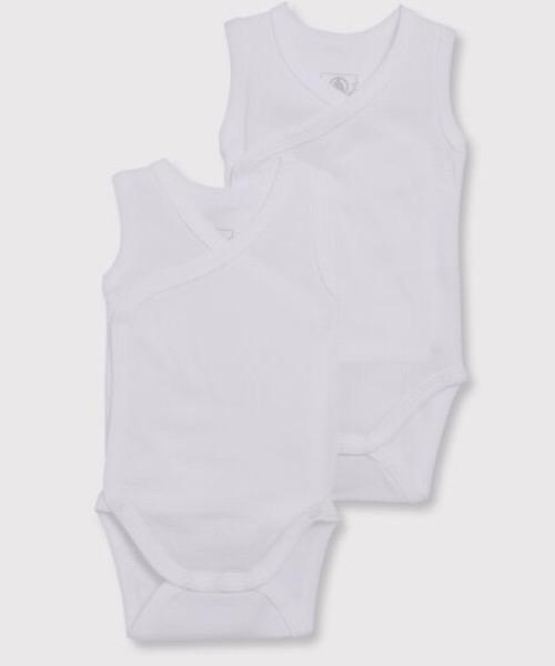Confezione da 2 body nascita bianchi senza maniche bebè in cotone biologico Petit Bateau