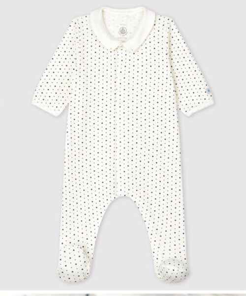 Tutina pigiama con colletto a stelline bebè in cotone biologico Petit Bateau