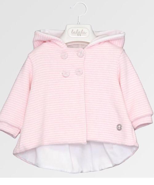 Giubbino neonato bambina Lalalù in maglia con cappuccio