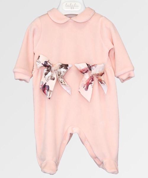 Tutina neonato bambina Lalalù in ciniglia